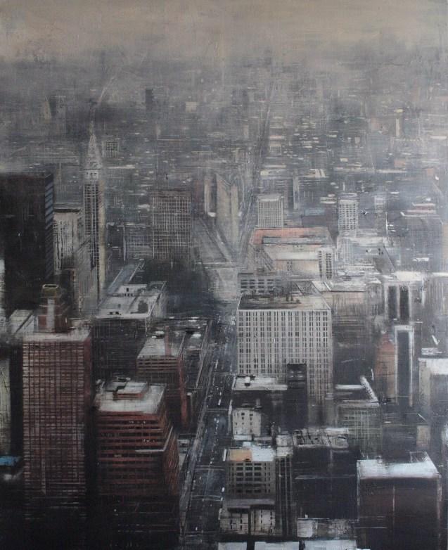 Fog in New York.160x130 cms.Oleo sobre tabla