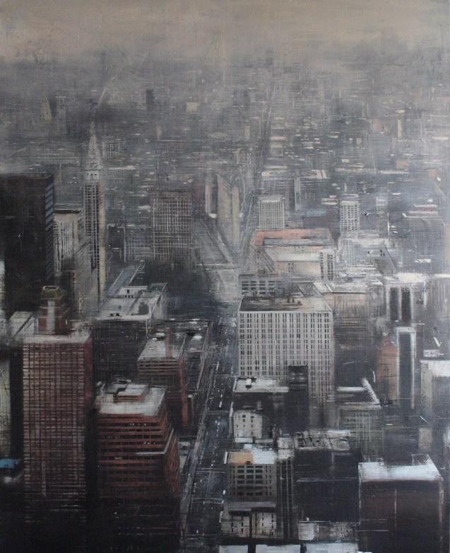 Fog in New York.160x130 cms.Oleo sobre tabla